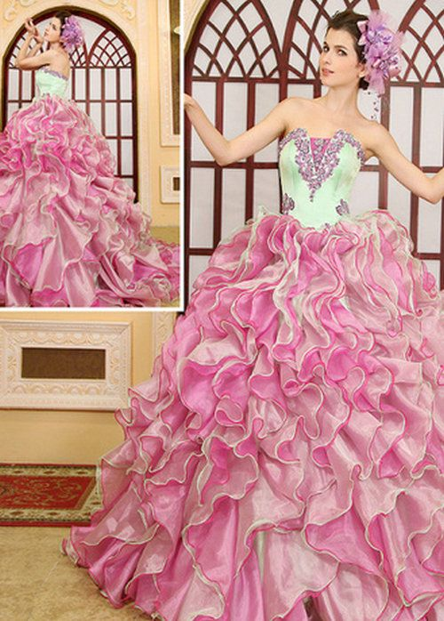 Royal strapless wedding dresses uk with princess pink with green