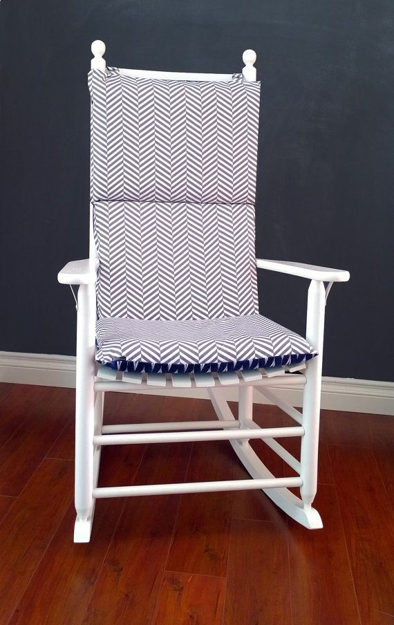 rocking chair cushion cover for baby nursery blue arrow grey