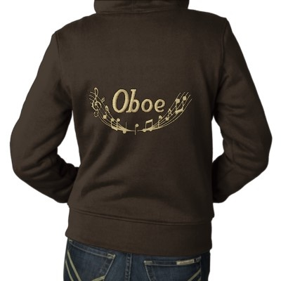 Embroidered Oboe Music Womens Sherpa Jacket by madconductor