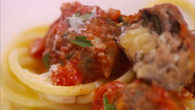 ... - Bucatini All'Amatriciana with Spicy Smoked Mozzarella Meatballs