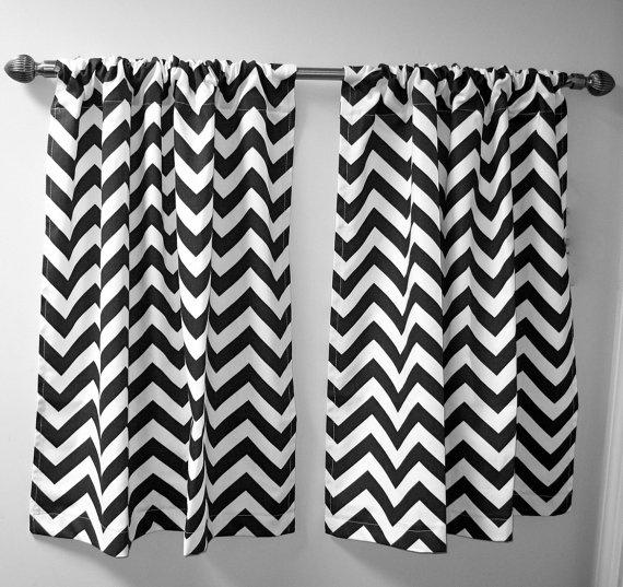 Cafe length chevron curtains