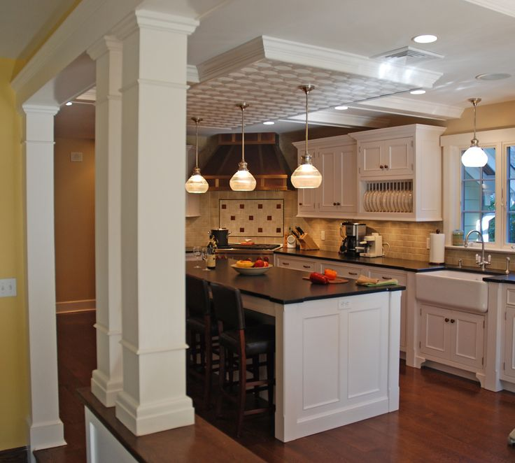Half wall and pillar idea our new kitchen ideas pinterest for Half wall kitchen ideas