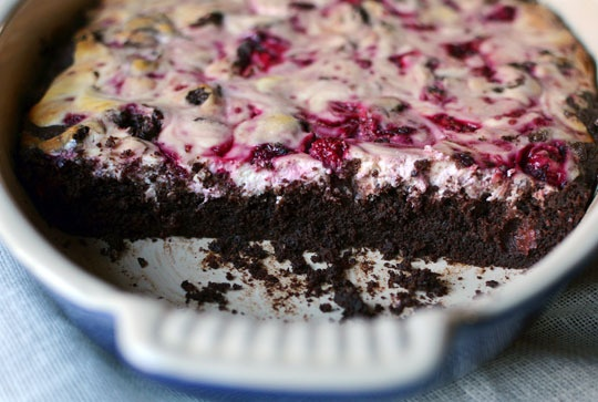 Dark chocolate Brownies with Raspberry Goat Cheese Swirl - With ...