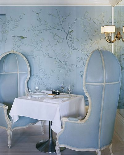 "Chic Chinoiserie ""Askew"" Wallpaper by de Gournay at the Restaurant at Bergdorf Goodman designed by Kelly Wearstler"