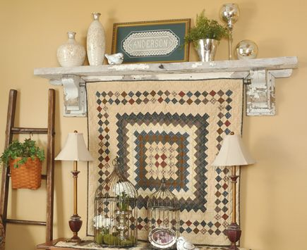 Insert a tension rod between a salvage-style shelf's corbel brackets to create a custom quilt rack. Find more great decorating secrets in every issue of Country Sampler. Order your subscription here: https://ssl.drgnetwork.com/ecom/csl/app/live/subscriptions?org=csl&publ=CS&key_code=EYJCS02&source=pinterest