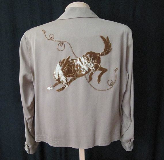 S m western gabardine embroidered horse long sleeve