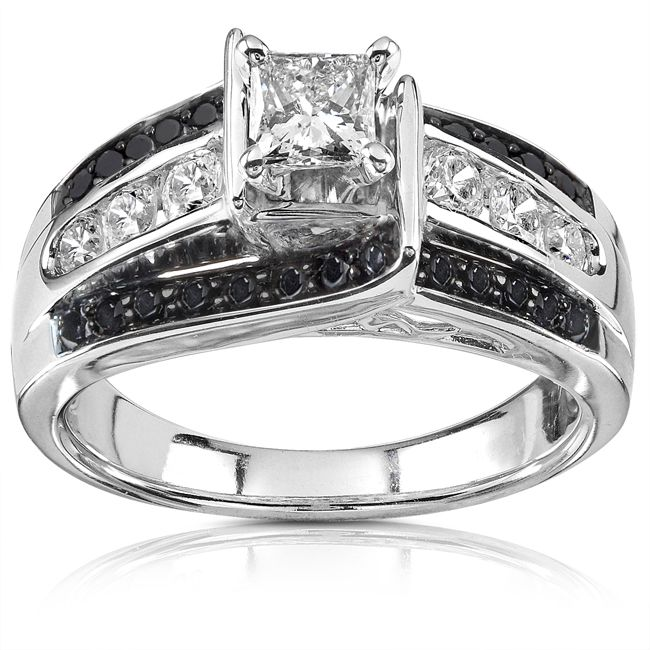 Princess Cut Black And White Diamond Engagement Ring Karat White
