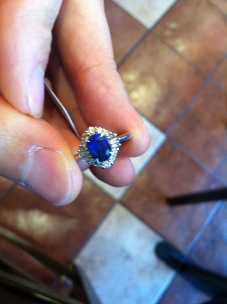 青いサファイア 1.27 ダイヤモンド取り巻き PT900 リング #11