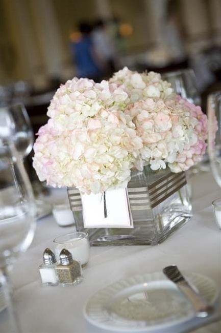 Simple hydrangea centerpiece wedding flowers pinterest