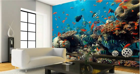 Aquatic wallpaper mural would be great in an office space for Cool mural wallpaper