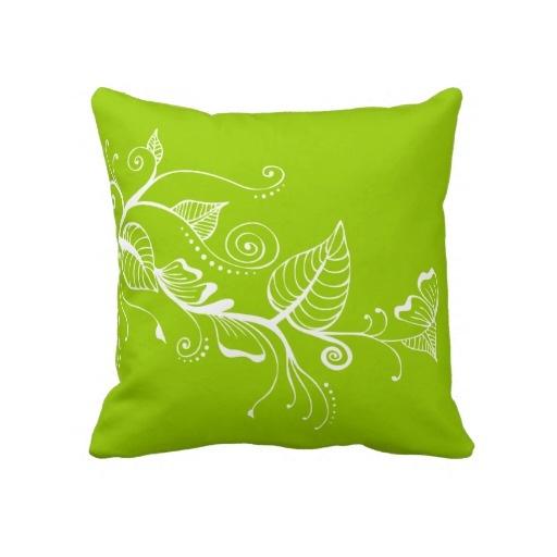 Elegant Spring Swirls Leaf Lime Green Pillow