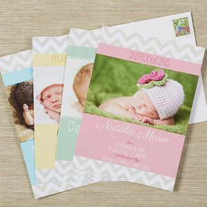 OMG I'm OBSESSED with these Chevron Baby Announcements! Love that you can personalize it with your own photo, any color and all your own info ... they're soooo cute! #Baby #BabyAnnouncements #Chevron