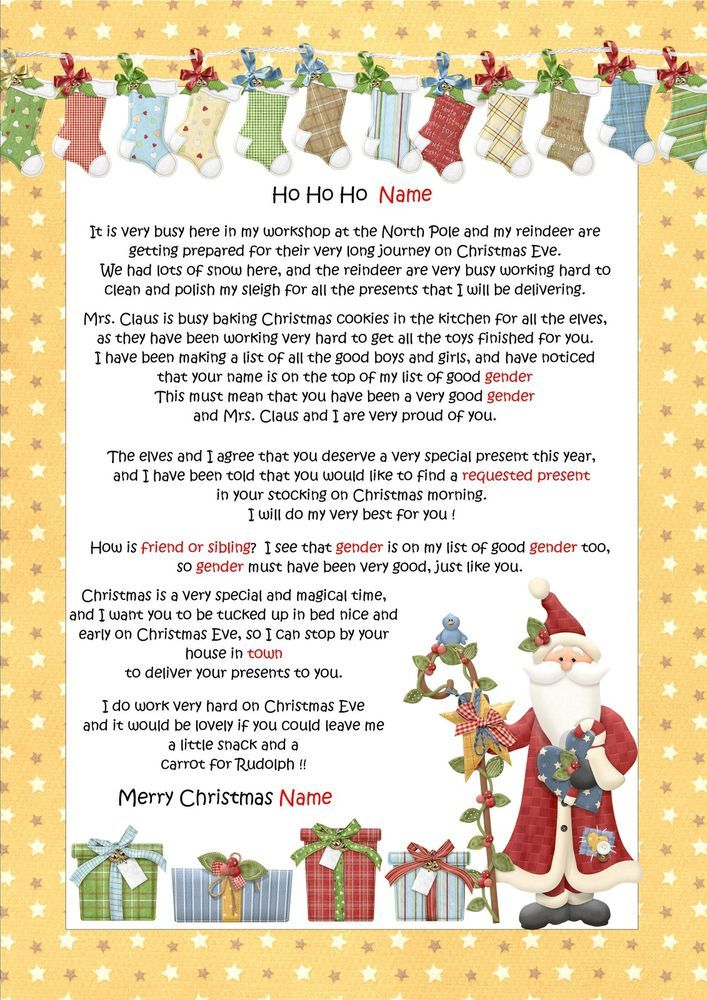 ... Letter From Santa / Father Christmas & North Pole Envelope - D10