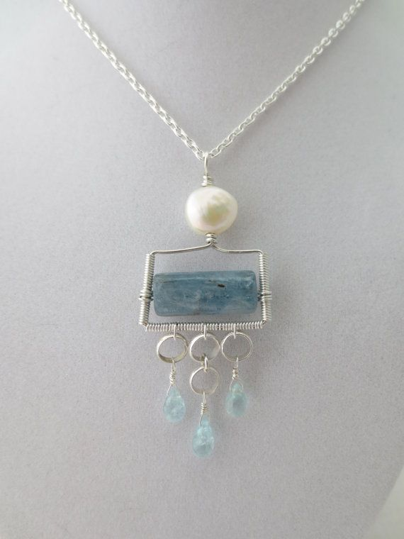 Pale Blue Kyanite, Aquamarine, and Cultured Freshwater Ocean Necklace