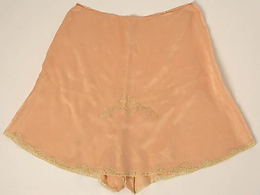 Underpants Christophe Date: 1920s Culture: French Medium: silk, cotton Dimensions: Length: 18 1/4 in. (46.4 cm) Credit Line: Gift of Mrs. C. O. Kalman, 1979 Accession Number: 1979.569.36