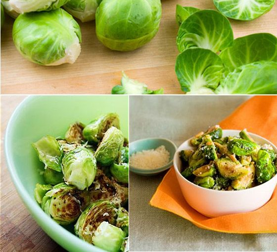 Roasted brussel sprouts with parmesan and pine nuts