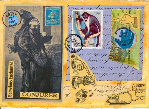 "I am a follower of anyone doing collage like this one from the work of fave Elizabeth Bunsen. Nick Bantock, Donald Evans' artistamps, and old Satty works in early issues of ""Rolling Stone"" are my influences."