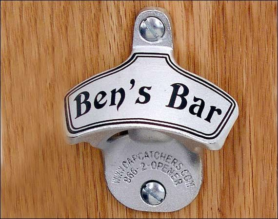 Personalized bottle opener traditional wall mount groomsmen gift - Personalized wall mount bottle opener ...