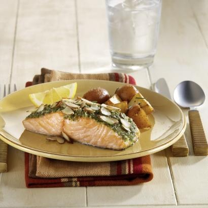 Salmon With Almond Pesto | Yum | Pinterest