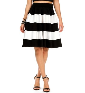 black and white striped a line skirt lace and gold