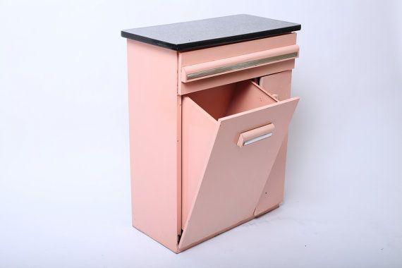 Vintage 1950s Mid Century Pink Enamel Metal Kitchen Cabinet