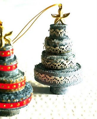 Denim ornaments.