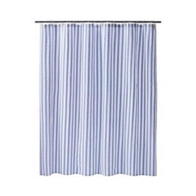 New Target Home Blue White Seersucker Stripe Shower Curtain
