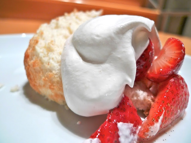 Lemon Angel Food Cake with Vanilla Strawberries