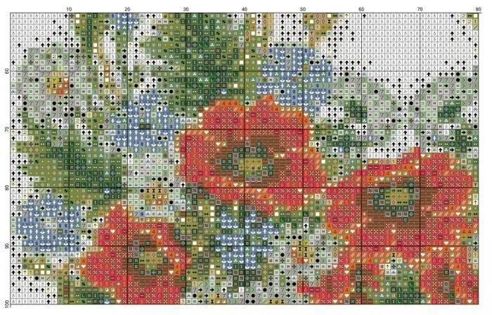 Схема вышивки цветочные узоры