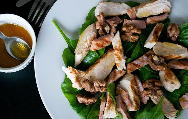 Spinach turkey and bacon salad with maple dressing [Jo Romero]