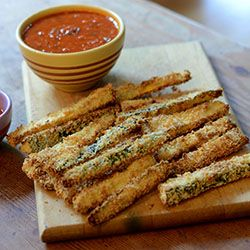 Oven baked zucchini and squash fries with a tomato basil dipping sauce ...