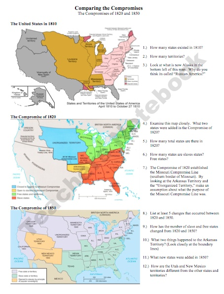 compare and contrast the compromises of 1820 to 1850 Students will use of a graphic organizer to show the differences and similarities between the missouri compromise and the compromise of 1850 below the graphic organizer is a writing.