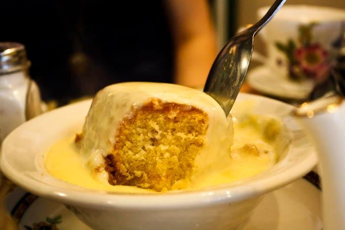 Banana Cake in custard at Tea & Sympathy! Photo by @Callie White