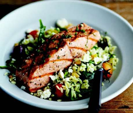 Grilled Salmon with Orzo, Feta, and Red Wine Vinaigrette | Recipe