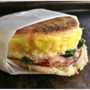 Mama Harris' Spinach, Ham & Pepper Jack Cheese Breakfast Sandwich