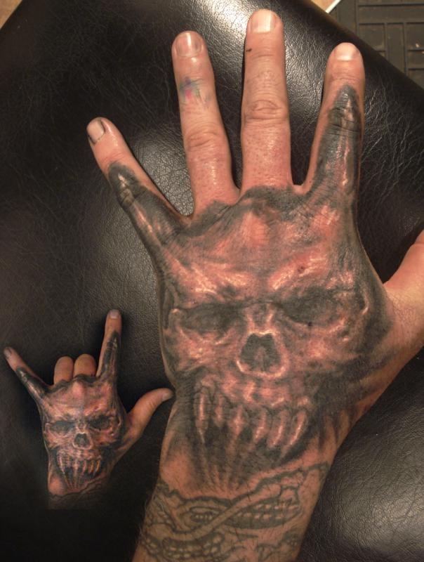 Tattoo - Skull Hand With Horns...   look onto tattoos ...