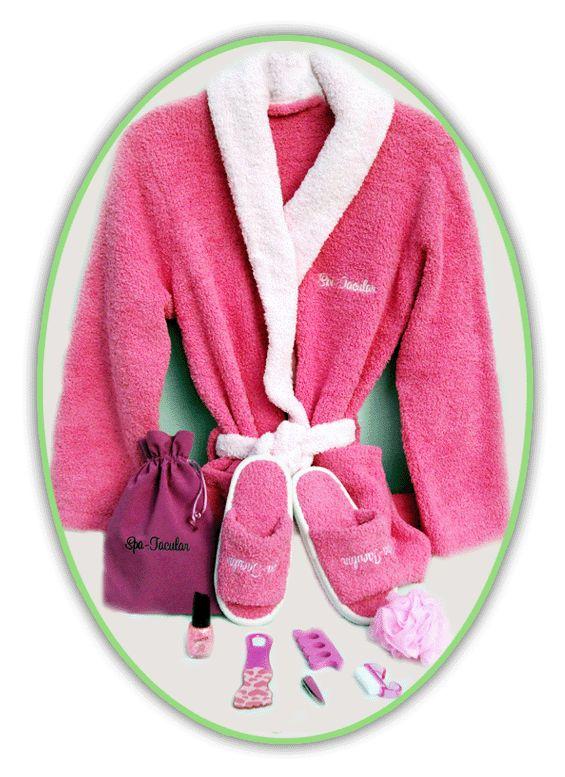 Pink spa luxury kit to go girls pink slipper bathrobe favor bag spa