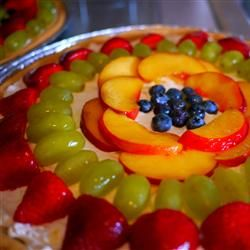 Fruit Pizza II - Sugar cookie crust spread with a mixture of Cool Whip ...