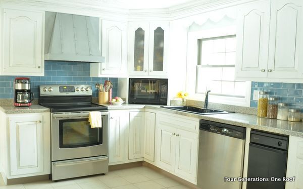Kitchen Painted Benjamin Moore Decorator White Cabinets Makeover Blue