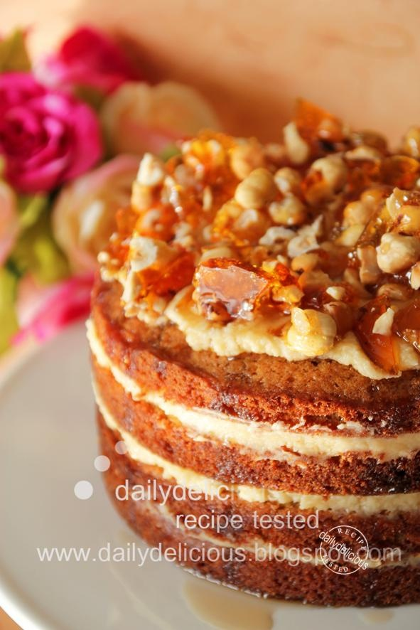 CARAMEL BUTTER CREAM AND MAPLE SYRUP LAYER CAKE