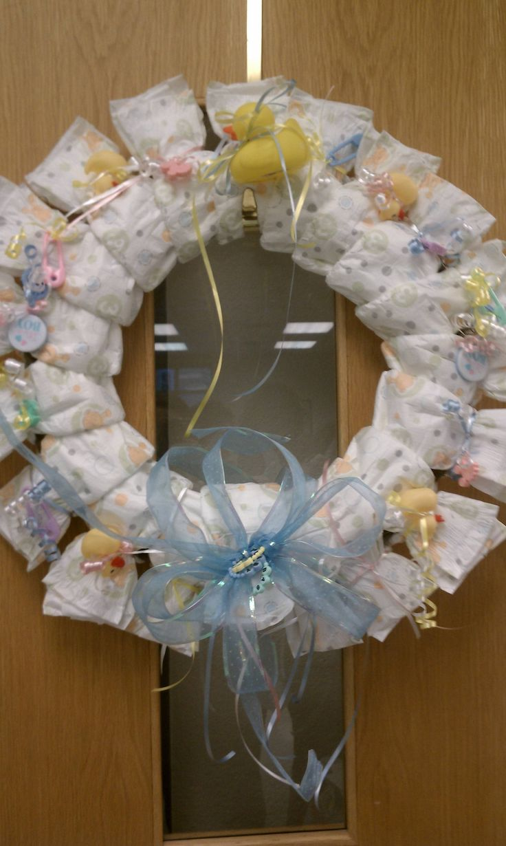 diy diaper wreath for a baby shower