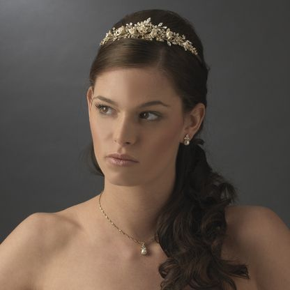 Gold plated porcelain flower bridal tiara