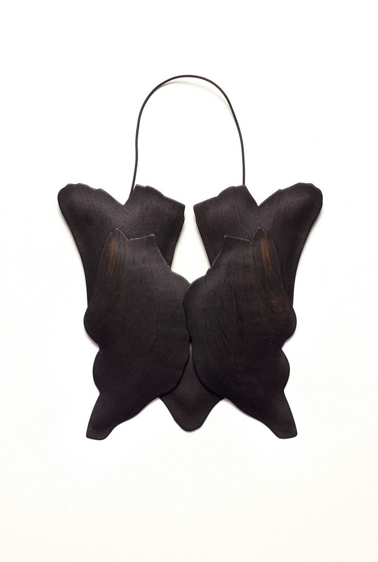 "Kiko Gianocca - ""Veneer"" Neckpiece 2014 Wood veneer, balsa wood, brass, silver"