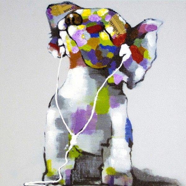 tableau toile contemporain chiwawa music les animaux en. Black Bedroom Furniture Sets. Home Design Ideas