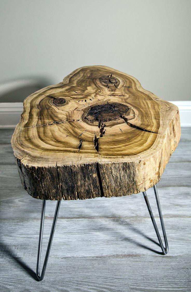 Sweet Gum Wood Slice Mid Century Modern Coffee/Side/Nightstand table. Hair pin legs. $600.00, via Etsy.