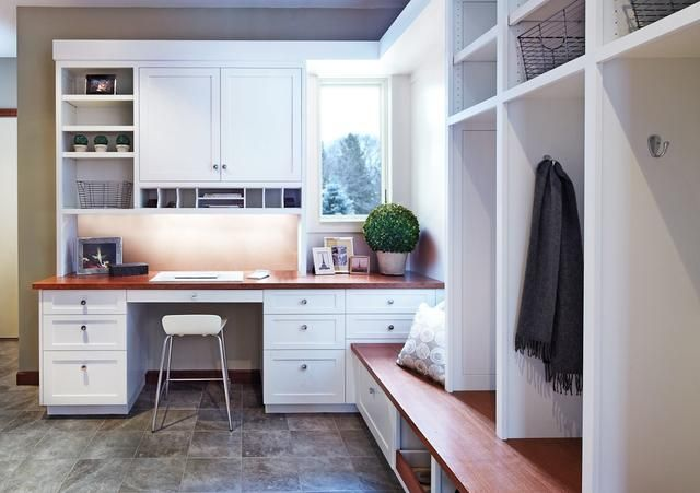 Office and mud room combo home interiors pinterest for Mudroom office