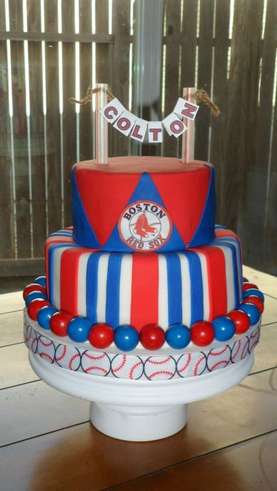 Red sox baby shower cake www.facebook.com/tastyfusion