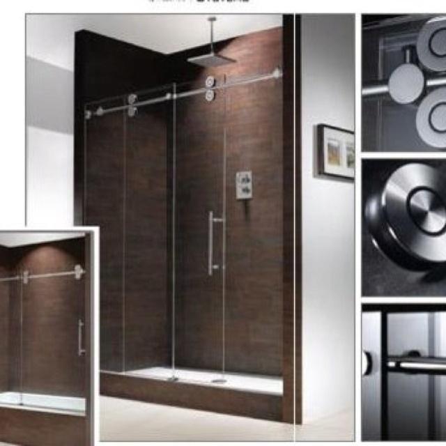 Sliding glass barn shower door design inspiration for Glass barn door for bathroom