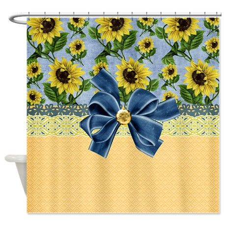 country sunflowers shower curtain on. Black Bedroom Furniture Sets. Home Design Ideas