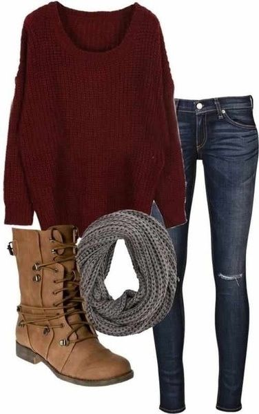 grey color scarf, dark red sweater, denim jeans and camel long boots